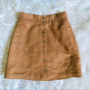 🍂🍁Match your PSL😝Hi Waist Tan Suede Mini Skirt